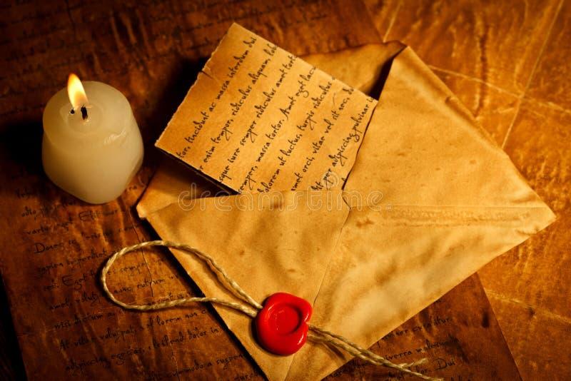 Letra do vintage com selo da cera imagens de stock royalty free