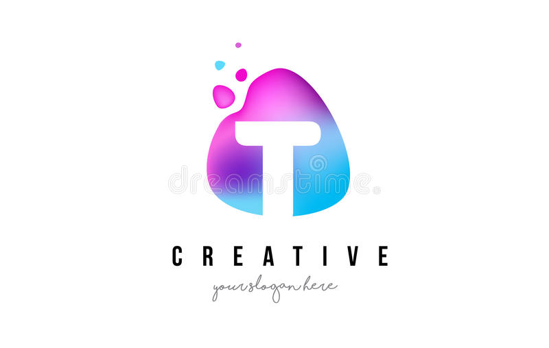 Letra Dots Logo Design de T con forma oval libre illustration