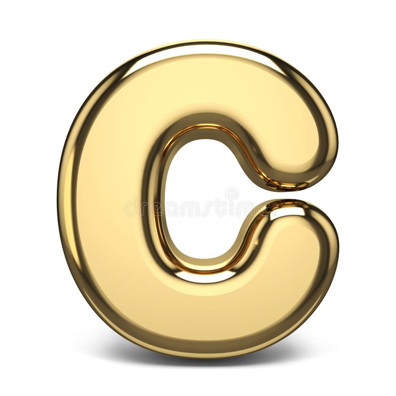 Letra dourada C 3D da fonte ilustração stock