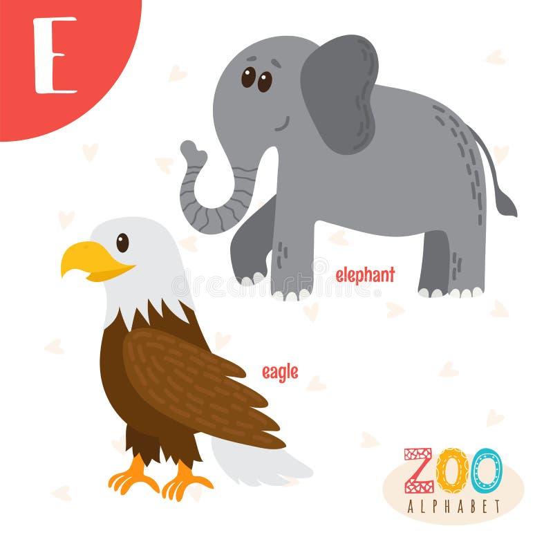 Letra E Animales lindos Animales divertidos de la historieta en vector Abucheo de ABC stock de ilustración