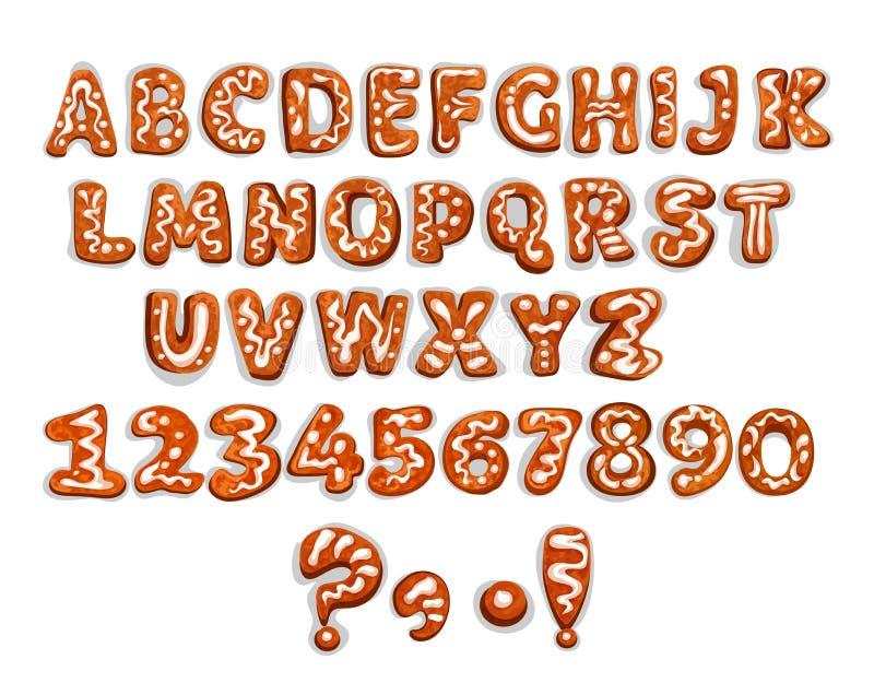 Letra e dígitos do alfabeto do pão-de-espécie do Natal ilustração royalty free