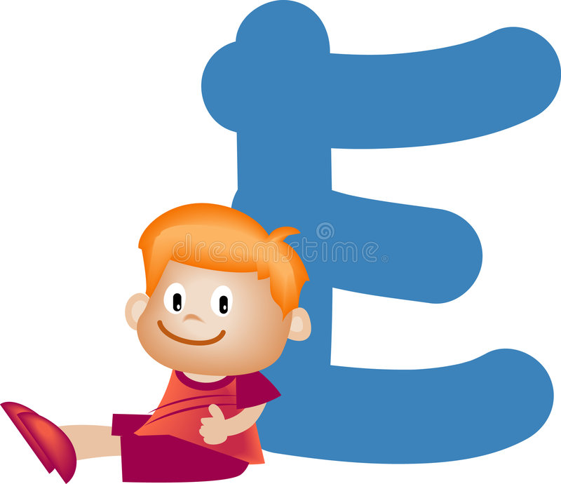 Letra E do alfabeto (menino) ilustração stock