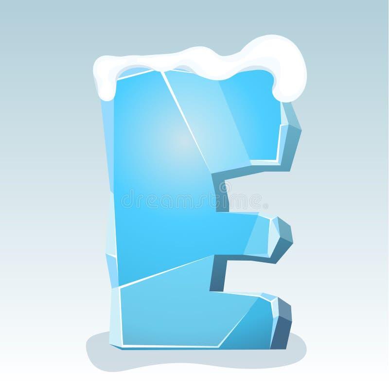 Letra E do gelo ilustração stock