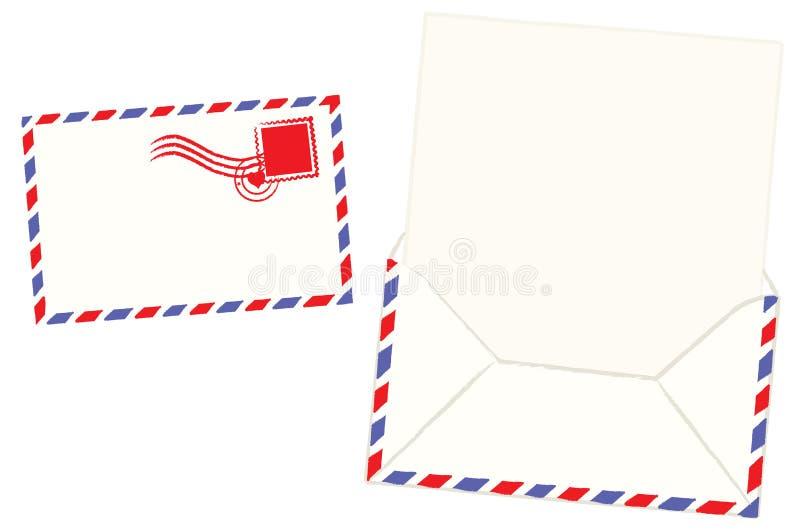 Letra e envelope em branco ilustração stock