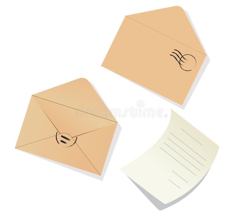 Letra e envelopes ilustração royalty free
