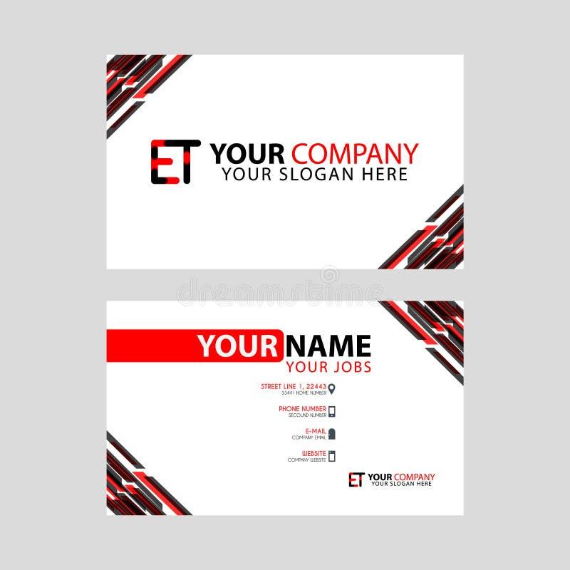 Letra E logotipo no preto que é incluído em um cartão de nome ou em um cartão simples com um molde horizontal ilustração stock