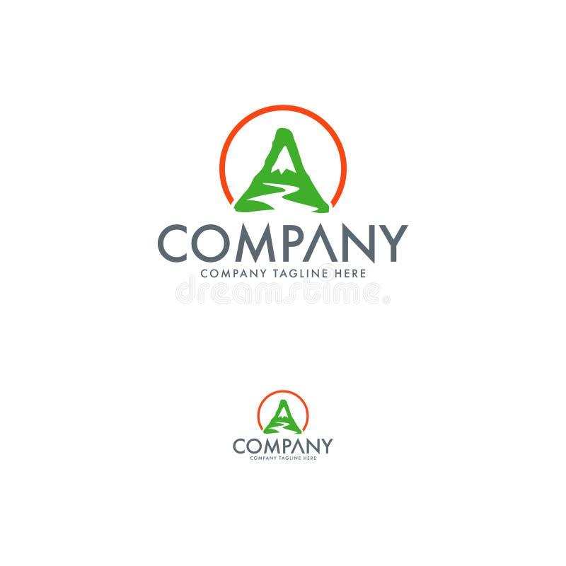 Letra A e molde do projeto do logotipo do vale ilustração stock
