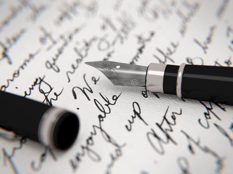 Letra e pena ilustração do vetor