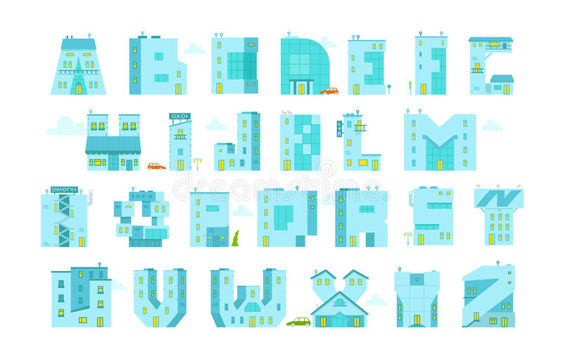 Letra-edificios del alfabeto Usted puede escribir cualquier palabra libre illustration