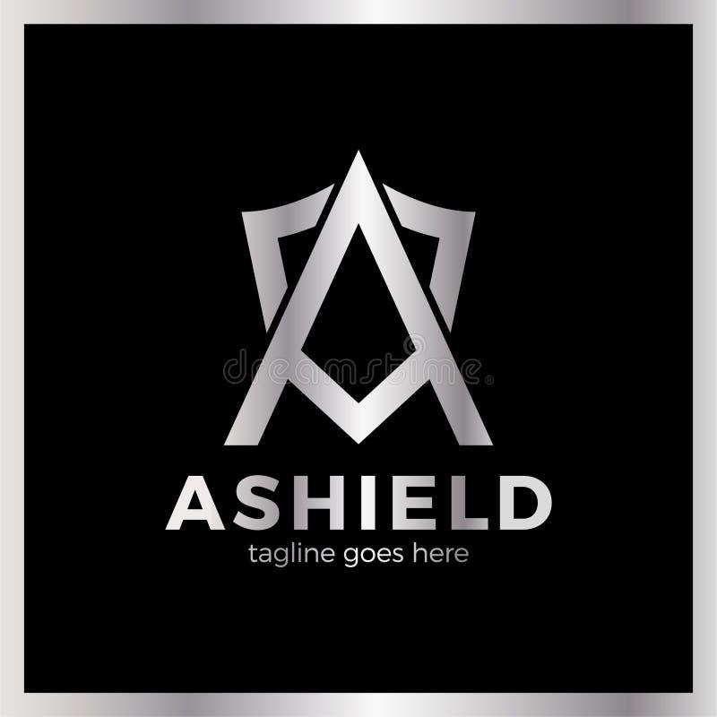 Letra el icono del logotipo del escudo de A para diseñar elementos de la plantilla stock de ilustración