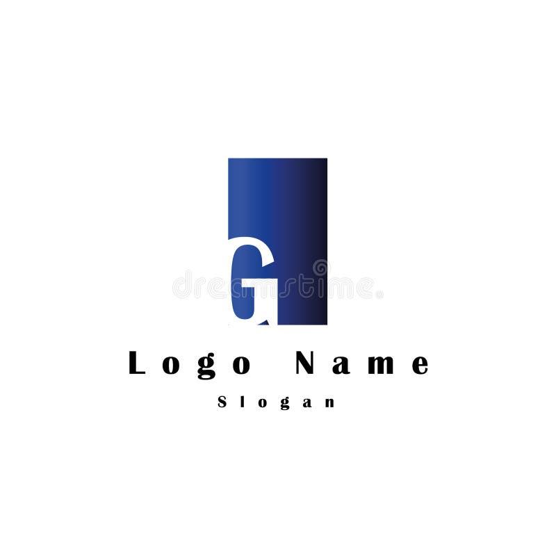 Letra el logotipo de G con el fondo del rectángulo y el color de la pendiente imagen de archivo libre de regalías