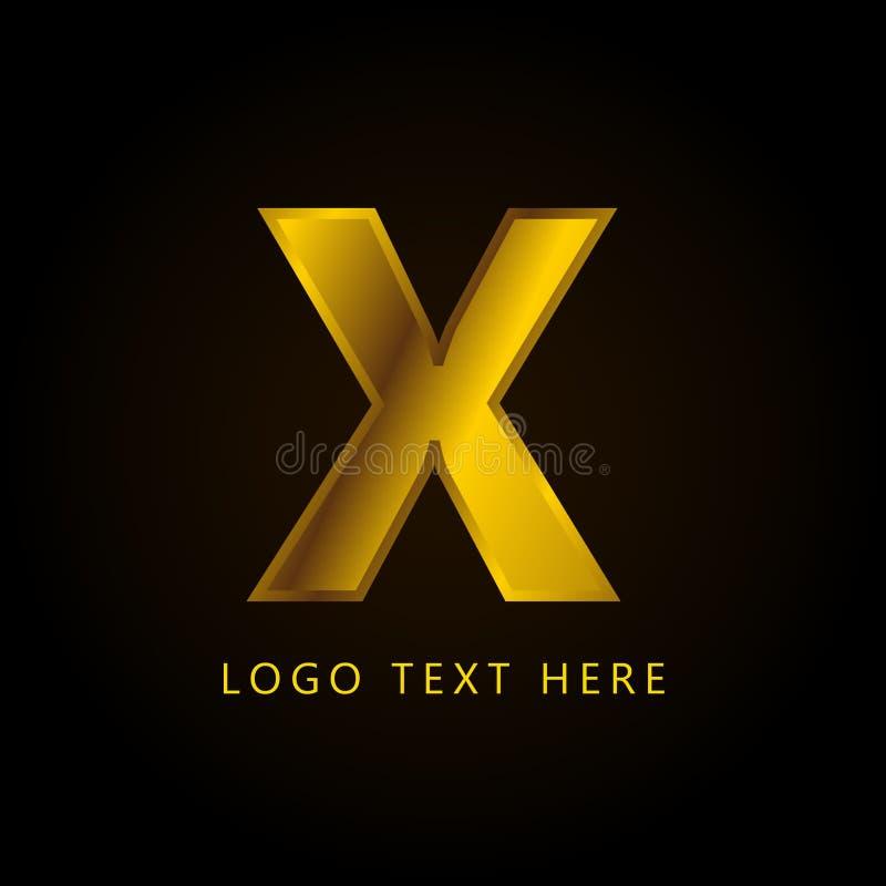 Letra el logotipo de la compañía de X con estilo y lujo de oro fotografía de archivo