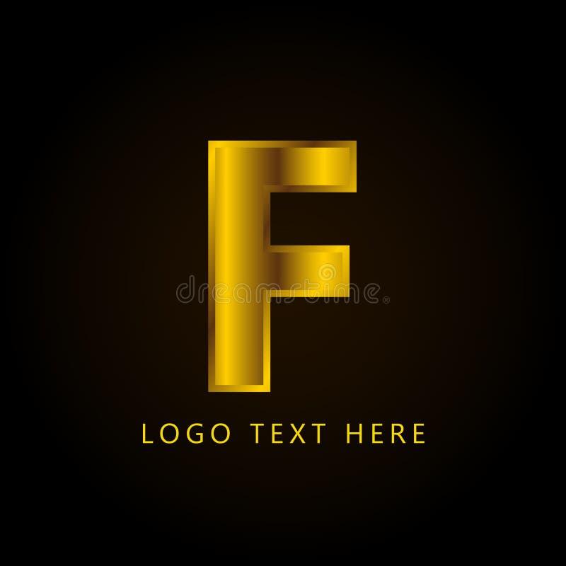 Letra el logotipo de la compañía de F con estilo y lujo de oro fotografía de archivo