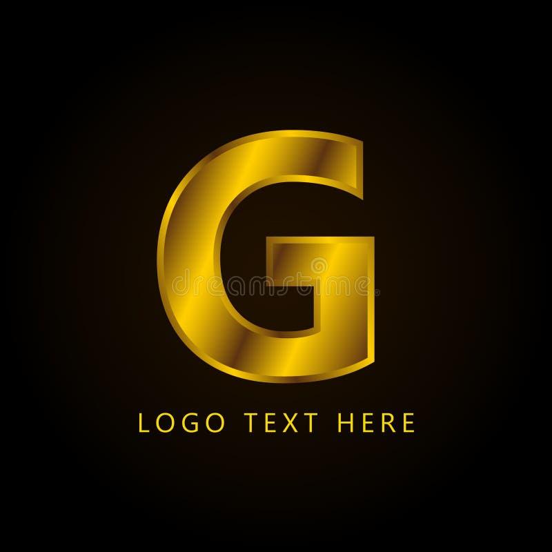 Letra el logotipo de la compañía de G con estilo y lujo de oro fotos de archivo