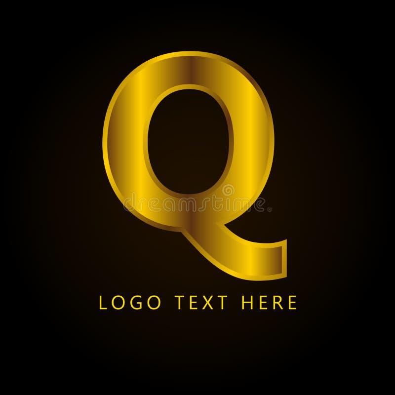 Letra el logotipo de la compañía de Q con estilo y lujo de oro fotografía de archivo