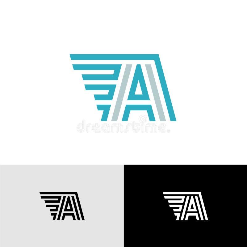 Letra el logotipo linear de A con las alas laterales libre illustration