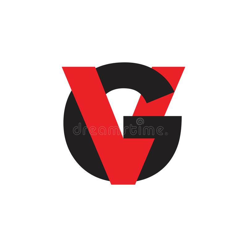 Letra el vg ligó vector simple del logotipo stock de ilustración