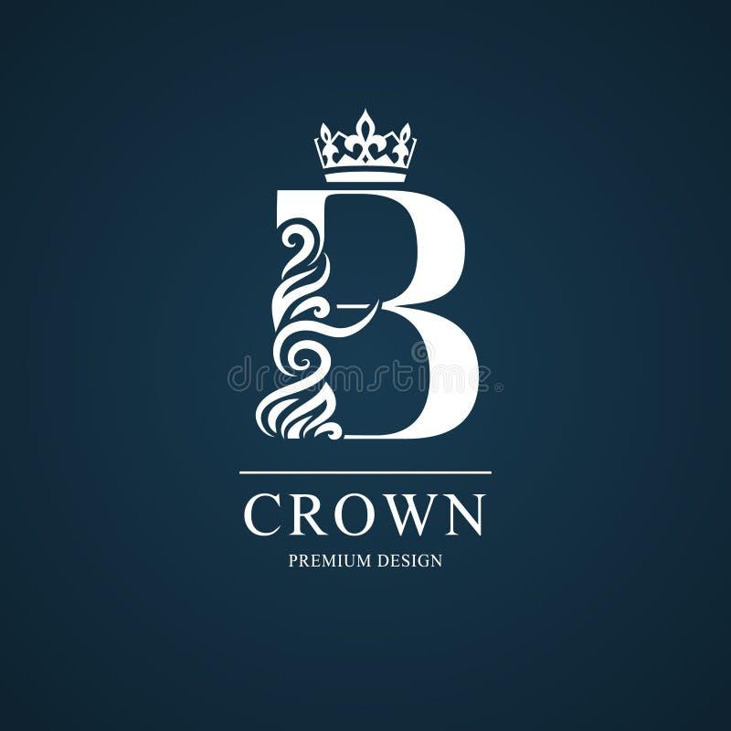 Letra elegante B Estilo real agraciado Logotipo hermoso caligráfico Emblema dibujado vintage para el diseño del libro, marca, neg ilustración del vector