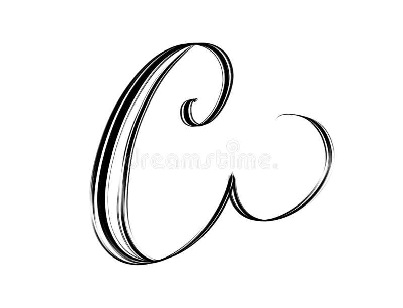 Letra elegante C de la escritura ilustración del vector