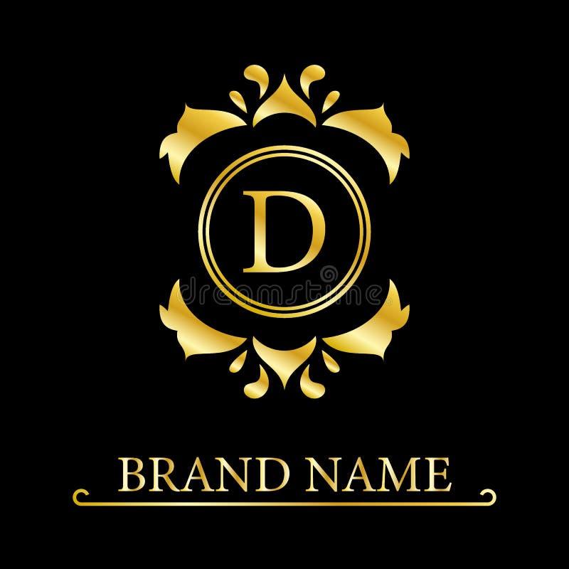 Letra elegante D Estilo real agraciado Logotipo hermoso caligr?fico Emblema exhausto del vintage para el dise?o del libro, marca, libre illustration