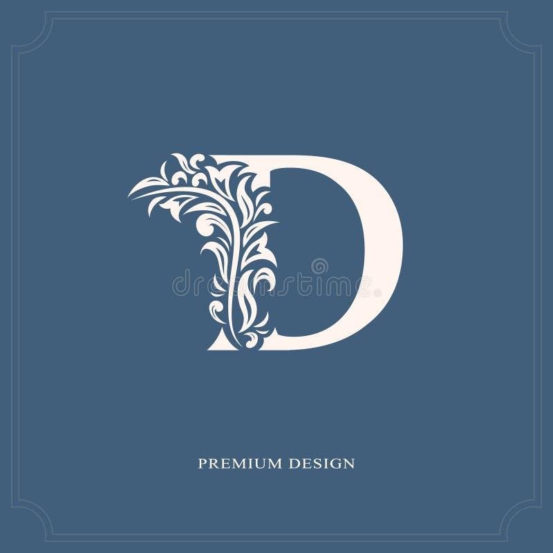 Letra elegante D Estilo real gracioso Logotipo bonito caligráfico Emblema tirado vintage para o projeto do livro, marca, negócio  ilustração stock