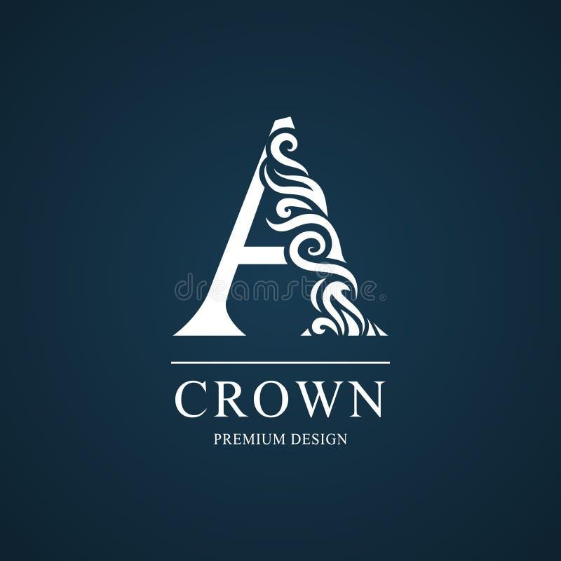 Letra elegante A Estilo real agraciado Logotipo hermoso caligráfico Emblema dibujado vintage para el diseño del libro, marca, neg stock de ilustración