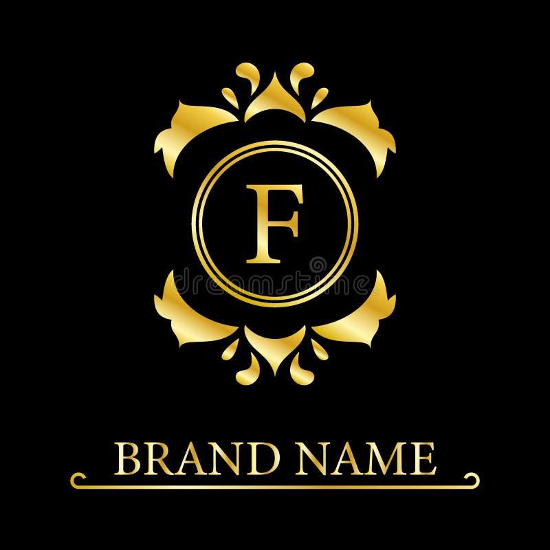 Letra elegante F Estilo real agraciado Logotipo hermoso caligr?fico Emblema exhausto del vintage para el dise?o del libro, marca, ilustración del vector