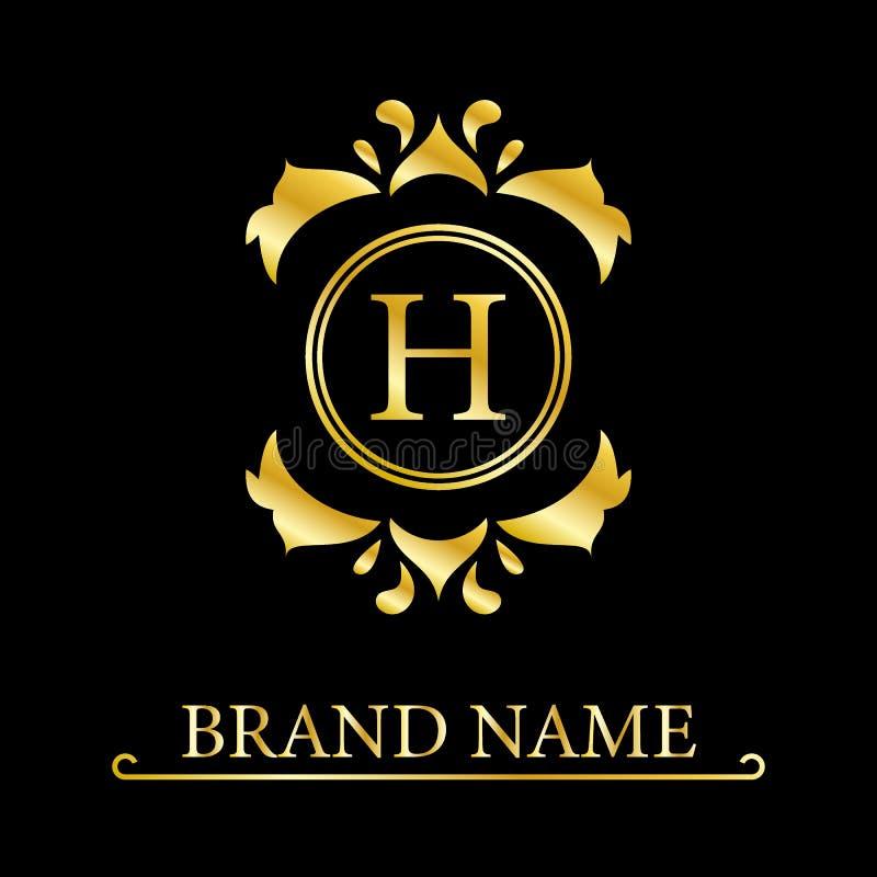 Letra elegante H del oro Estilo agraciado Logotipo hermoso caligr?fico Emblema exhausto del vintage para el dise?o del libro, mar libre illustration
