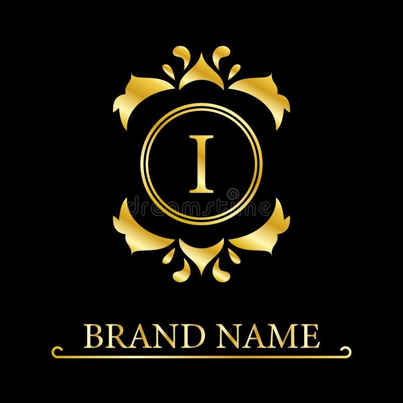 Letra elegante I Estilo real agraciado Logotipo hermoso caligr?fico Emblema exhausto del vintage para el dise?o del libro, marca, libre illustration