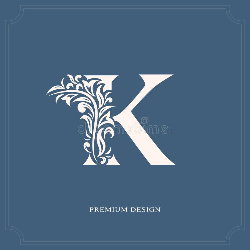 Letra elegante K Estilo real gracioso Logotipo bonito caligráfico Emblema tirado vintage para o projeto do livro, marca, negócio  ilustração do vetor