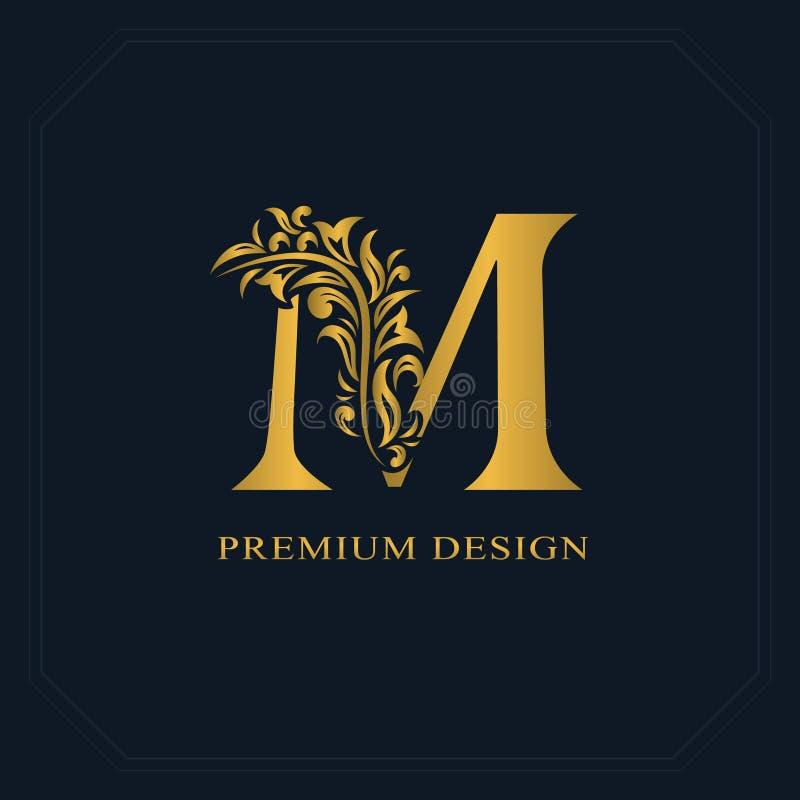 Letra elegante M do ouro Estilo gracioso Logotipo bonito caligráfico Emblema tirado vintage para o projeto do livro, marca, carro ilustração royalty free