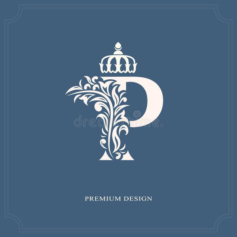 Letra elegante P com uma coroa Estilo real gracioso Logotipo bonito caligráfico Emblema tirado vintage para o projeto do livro, m ilustração do vetor