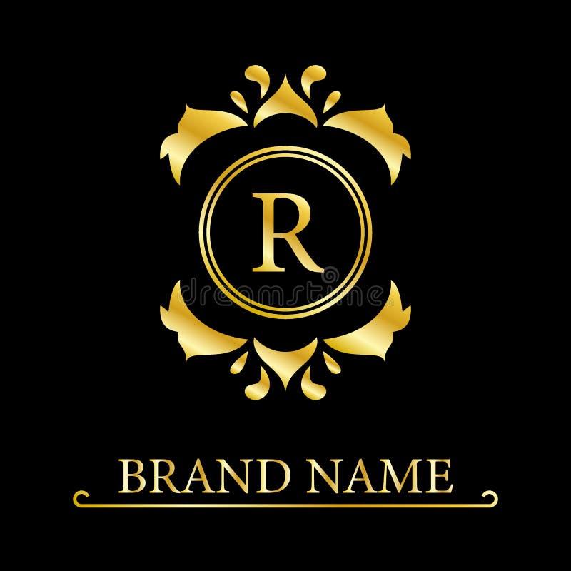 Letra elegante R del oro Estilo real agraciado Logotipo hermoso caligr?fico Emblema dibujado vintage para el dise?o del libro, ma ilustración del vector