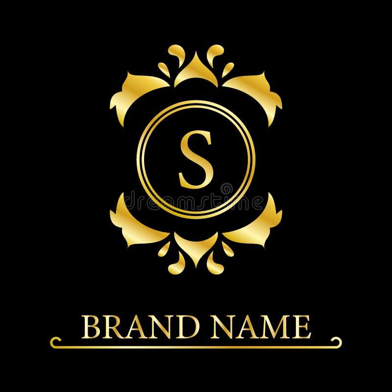 Letra elegante S del oro Estilo agraciado Logotipo hermoso caligr?fico Emblema exhausto del vintage para el dise?o del libro, mar ilustración del vector