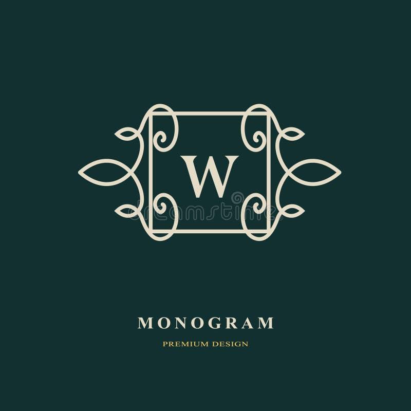 Letra elegante W Estilo agraciado Logotipo hermoso caligráfico Emblema dibujado vintage para el diseño del libro, marca, tarjeta  ilustración del vector