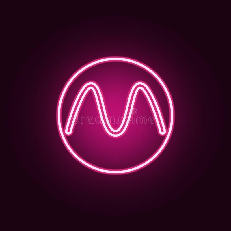 letra em um ícone de néon do círculo Elementos do grupo da Web ?cone simples para Web site, design web, app m?vel, gr?ficos da in ilustração stock