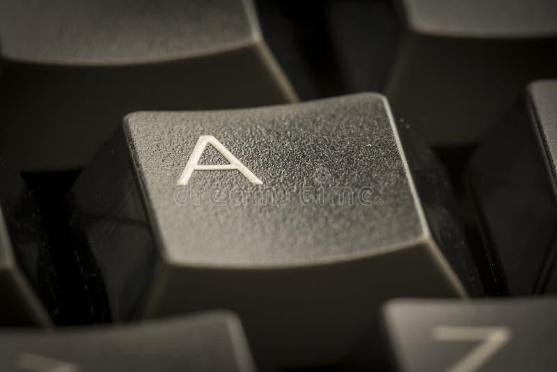 Letra A en el teclado imagen de archivo