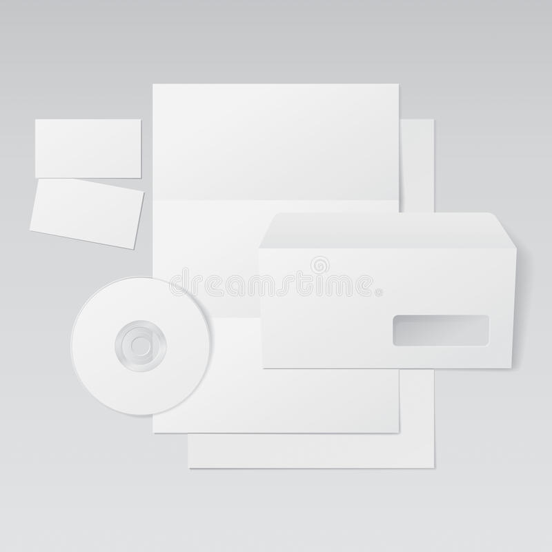 Letra, envelope, cartões e CD em branco ilustração royalty free
