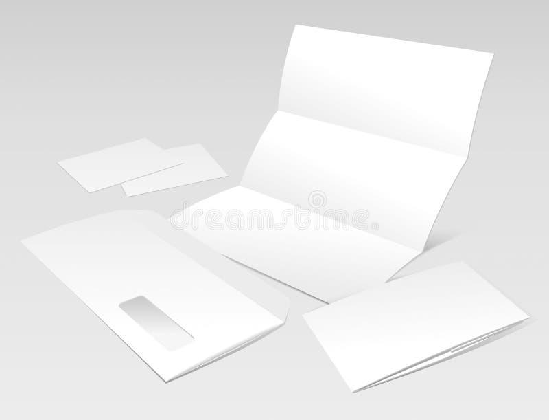 Letra, envelope, cartões e livreto em branco ilustração stock