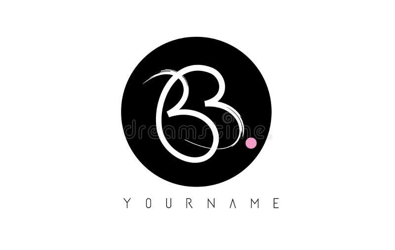 Letra escrita à mão Logo Design da escova do BB com círculo preto ilustração stock