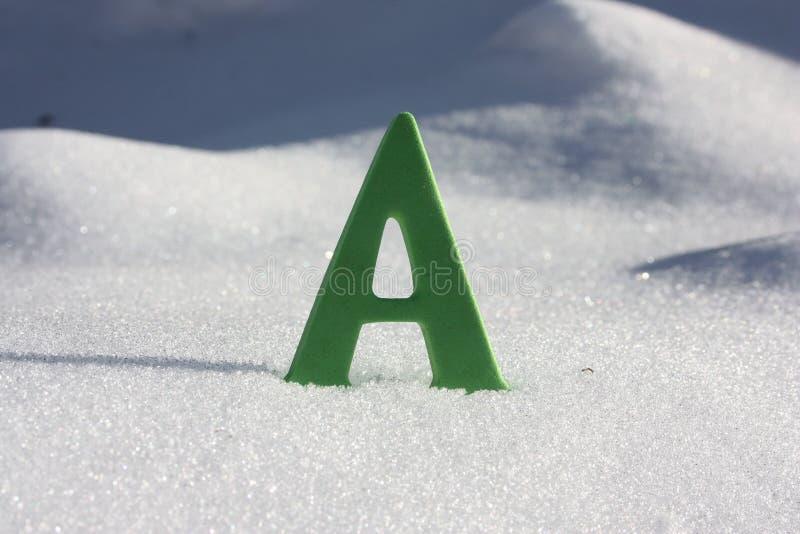 A letra está contra uma neve branca foto de stock