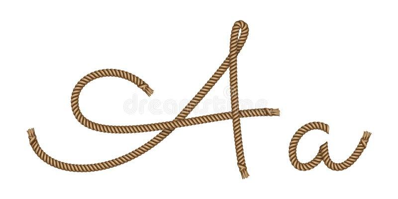 Letra exhausta A de la mano de la cuerda ilustración del vector