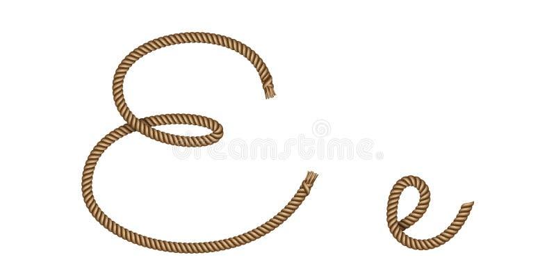 Letra exhausta E de la mano de la cuerda libre illustration