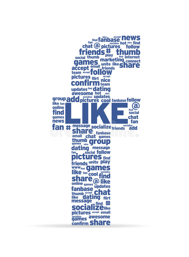 Letra F com palavras sociais ilustração royalty free