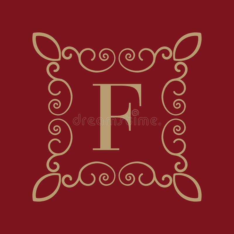 Letra F del monograma Ornamento caligráfico oro Conceptos retros, del negocio y del vintage Ilustración del vector libre illustration