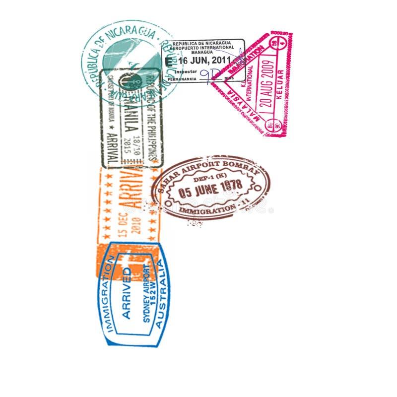 A letra F feita do passaporte internacional carimba em um fundo branco Isolado ilustração royalty free
