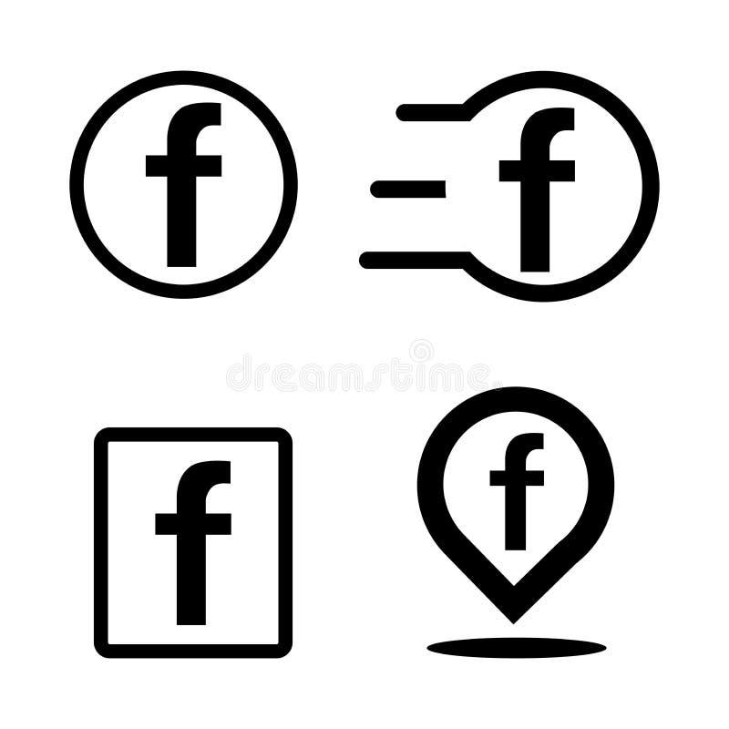 Letra F no fundo branco Logotipo social dos meios Molde do projeto Projeto liso ilustração royalty free