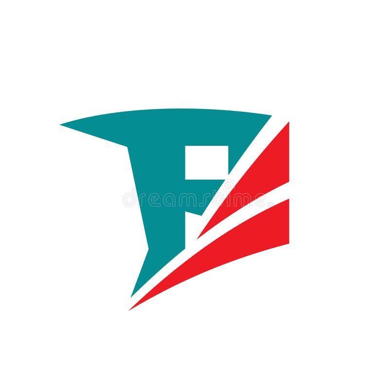 A letra F - vector a ilustração do conceito do molde do logotipo do negócio Sinal abstrato ativo da aptidão Elemento do projeto g ilustração royalty free