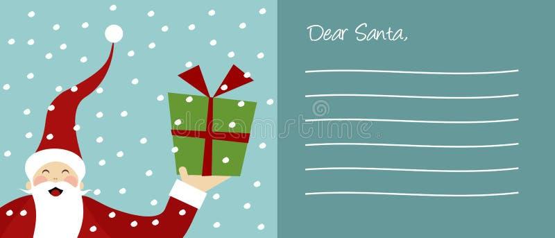 Letra feliz de Papai Noel e de flocos de neve ilustração royalty free