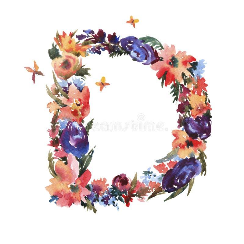 Letra floral D de la acuarela hecha de las flores, letra aislada del verano en el fondo blanco ilustración del vector